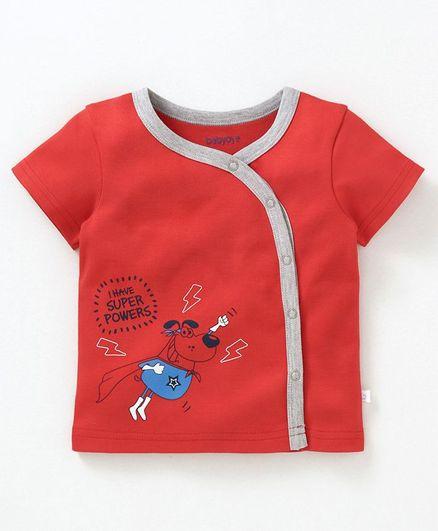 Babyoye Cotton Half Sleeves Vest Dog Print - Red