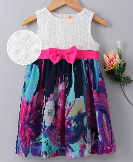 Yellow Duck Flower Print Sleeveless Dress - Pink