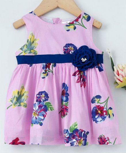 Yellow Duck Sleeveless Flower Print Dress - Pink