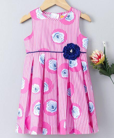Yellow Duck Sleeveless Striped & Flower Print Dress - Pink