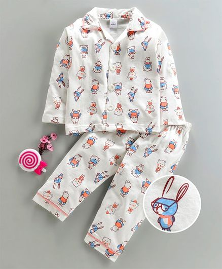 Olio Kids Full Sleeves Night Suit Bear & Bunny Print - White Blue