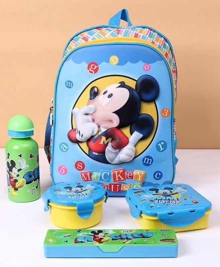 Disney Mickey Mouse School Kit Combo of 5 - Blue
