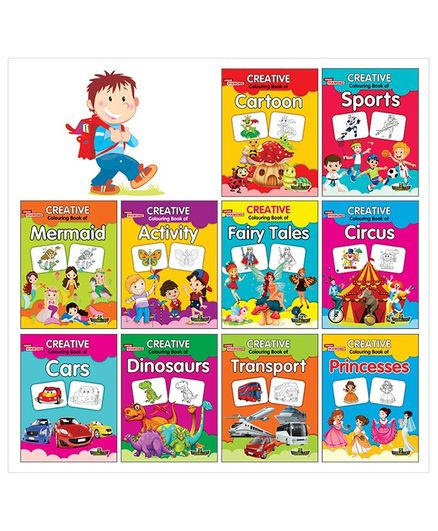 Creative Colouring Book Set of 10 Books - English