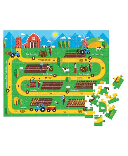 Funskool Play & Learn Farming cycle Puzzle Green - 104 Pieces