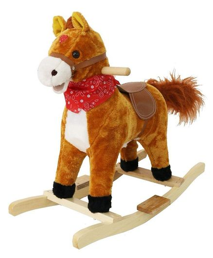 Toyshine Sunshine Horse Mini Wooden Rocker With Music and Light - (Color & Design May Vary)