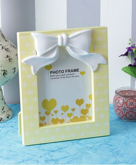 Quirky Monkey Cute Bow Photo Frame - Yellow