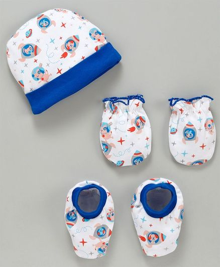 Babyhug Cotton Cap Mittens And Booties Puppy Print - White Blue