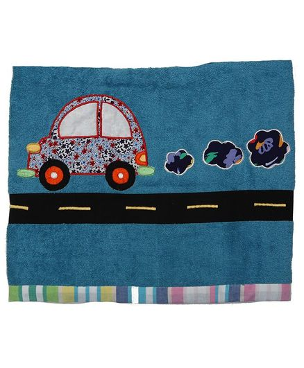 Princess & her Bunny Bath Towel Car Embroidery - Blue