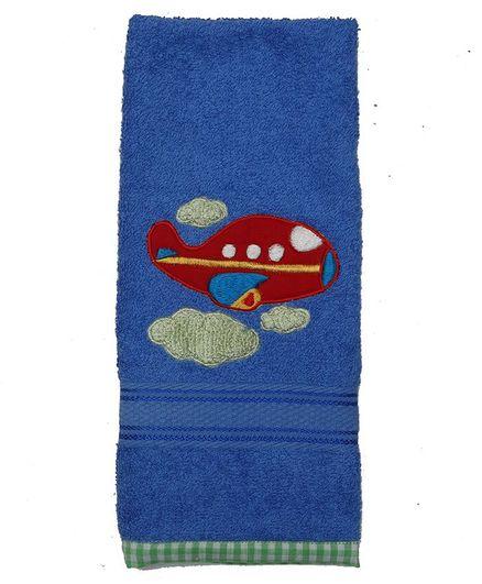 Princess & Her Bunny Cotton Hand Towel Aeroplane Patch - Blue