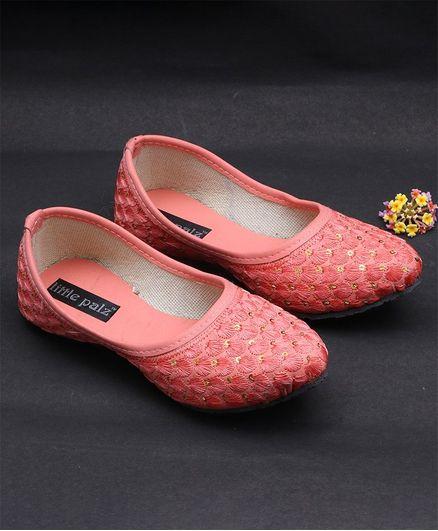 Little Palz Sequin & Thread Work Design Mojaris - Pink