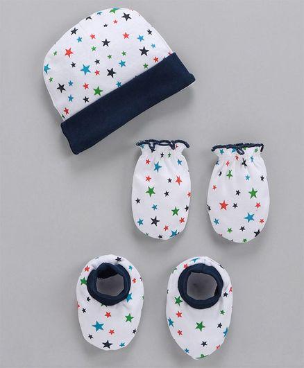 Babyhug Cap Mittens & Booties Set Star Print - Multicolor