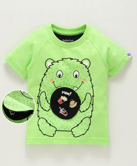 Babyoye Half Sleeves Tee Cartoon Print - Lime Green