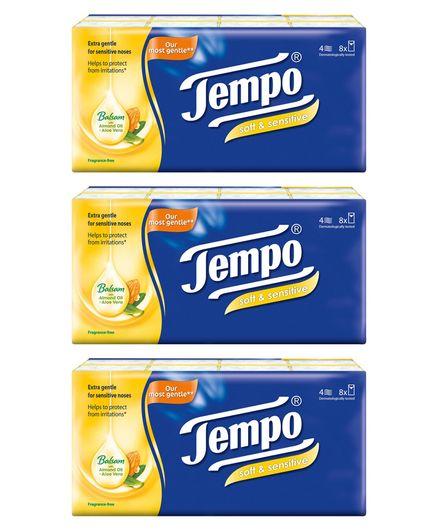 Tempo Soft & Sensitive Pocket Handkerchiefs - Pack of 24