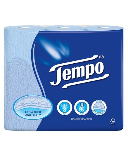 Tempo Toilet Tissue Rolls Pack of 9 - Blue