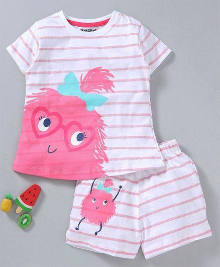 Cucumber Half Sleeves Tee & Shorts Set Animal Print - Pink White