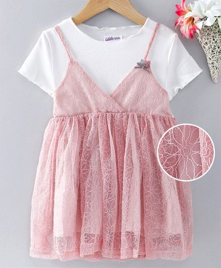 Meng Wa Half Sleeves Party Wear Frock - Pink & White
