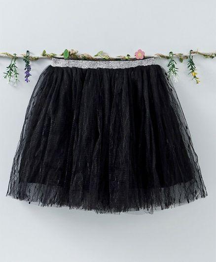 Meng Wa Party Wear Skirt Net Skirt - Black