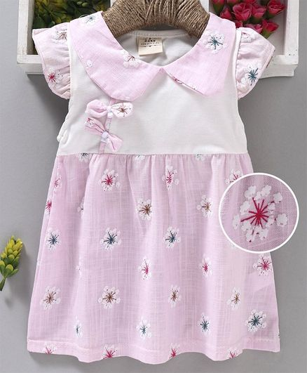 Kookie Kids Cap Sleeves Frock Flower Print & Bow Applique - Light Pink