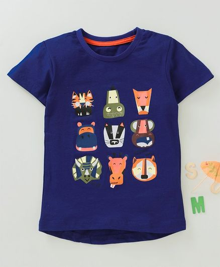 Kookie Kids Half Sleeves Tee Wild Animals Print - Navy Blue