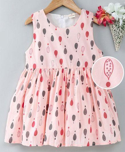 Kookie Kids Sleeveless Frock Allover Print - Pink