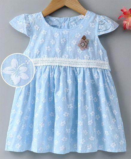 Kookie Kids Cap Sleeves Frock Floral Print - Blue