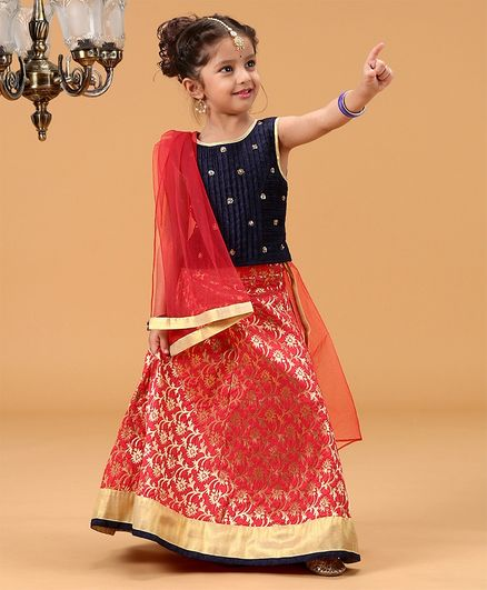 Babyhug Sleeveless Choli With Lehenga & Dupatta Sequin Work - Navy Blue