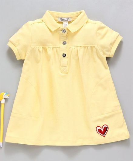Memory Life Collar Neck Frock Heart Embroidered - Yellow