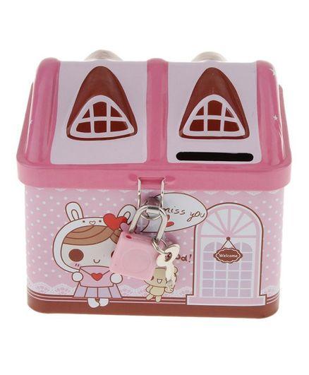 Syga House Shape Coin Box With Lock & Key - Pink