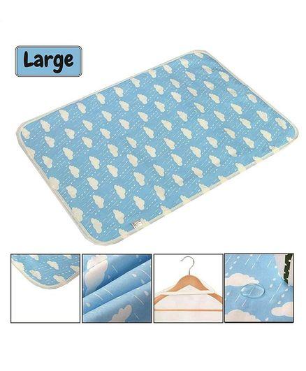 Syga Cloud Printed Waterproof Diaper Changing Mat Large Size - Blue