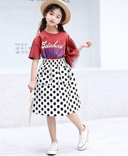 Pre Order - Awabox Half Sleeves Tee & Polka Dot Print Skirt Set - Red
