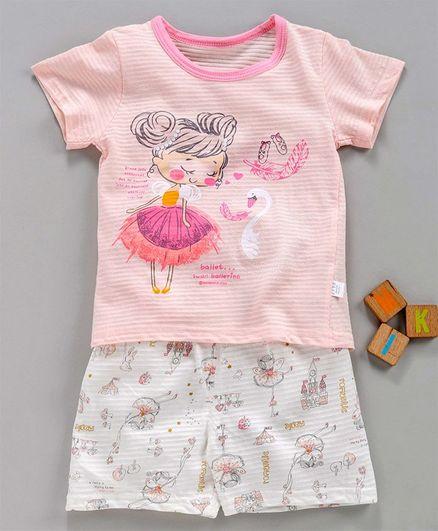 Kookie Kids Half Sleeves Night Suit Striped & Ballerina Print - Light Pink