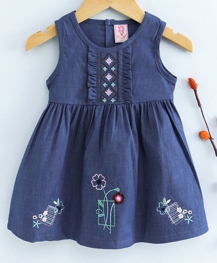 Sunny Baby Sleeveless Floral Embroidered Frock - Dark Blue