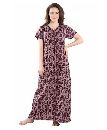 Piu Flower Print Half Sleeves Front Zipper Nighty - Brown