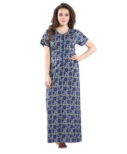 Piu Flower Print Half Sleeves Front Zipper Nighty - Blue