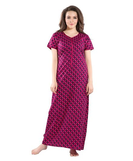 Piu Square Print Half Sleeves Front Zipper Nighty - Pink