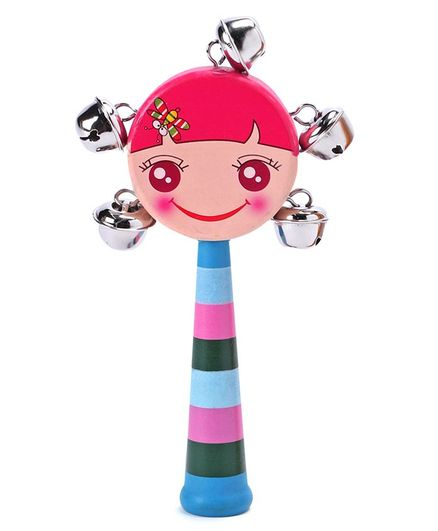 Doll Shaped Classic Wooden Rattle - Multicolour