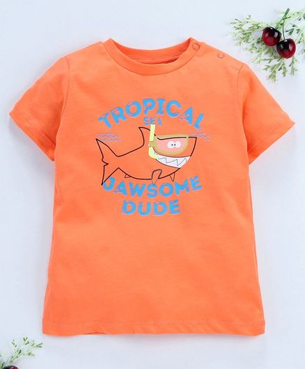 LC Waikiki Half Sleeves Shark Printed Tee - Orange