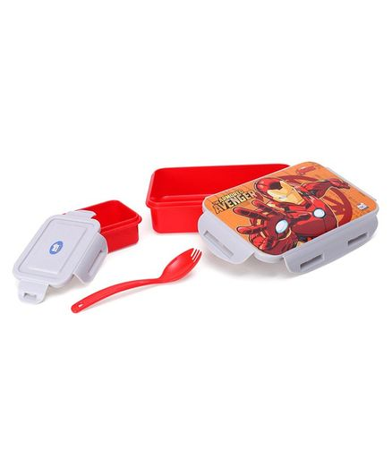 Marvel Iron Man Lunch Box With Container & Fork Spoon - Red & Grey