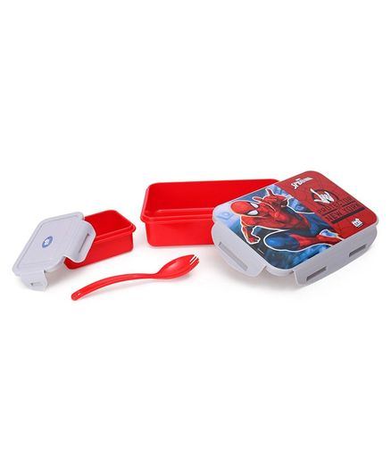 Marvel Spider Man Lunch Box With Container & Fork Spoon - Red & Grey