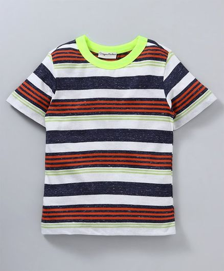 Crayonflakes Half Sleeves Striped Tee - Multi Colour