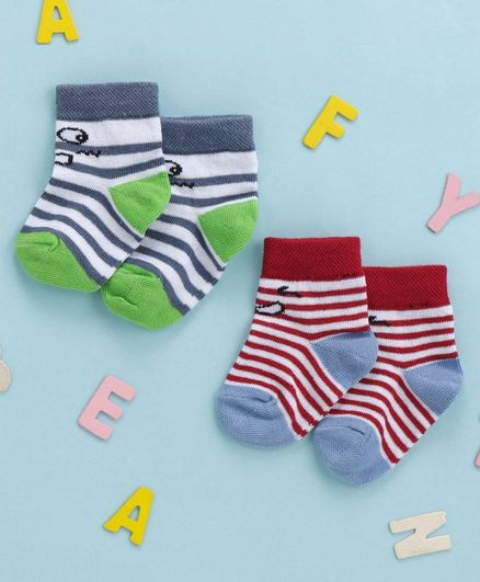 Cute Walk By Babyhug Non Terry Antibacterial Ankle Length Socks Stripes Design Set of 2 - Green Maroon
