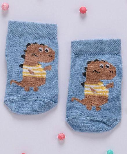Cute Walk By Babyhug Non Terry Antibacterial Ankle Length Socks Dinosaur Design - Blue