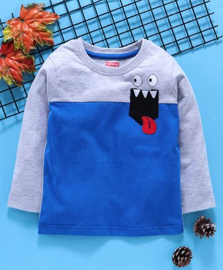 Babyhug Full Sleeves Printed Tee - Blue