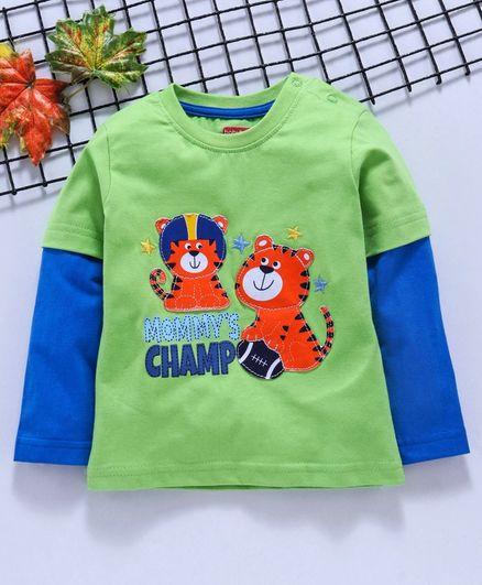 Babyhug Full Sleeves Tee Tiger Patch - Green