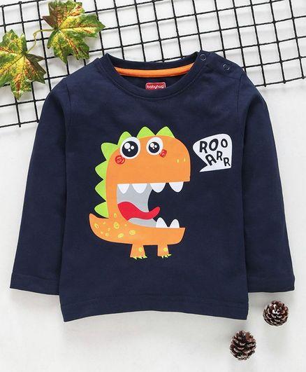 Babyhug Full Sleeves Dinosour  Print  T-Shirt - Navy Blue