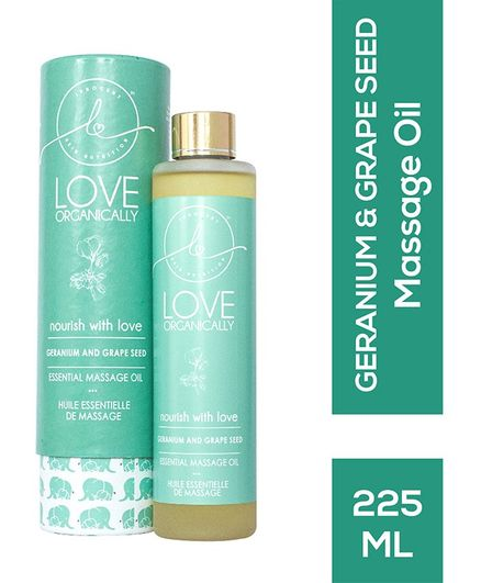 Love Organically Geranium & Grape Seed Massage Oil - 225 ml