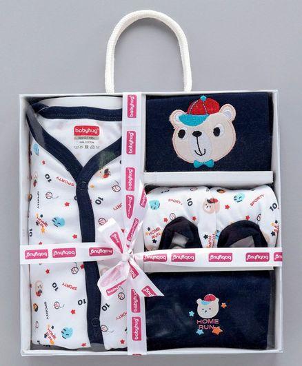 Babyhug Clothing Gift Set Sports Print Blue - 5 Pieces