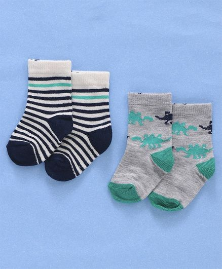 Cute Walk by Babyhug Anti Bacterial Non Terry Socks Striped & Dino Design Pack of 2 Pairs - Grey Blue