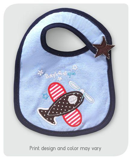 Babyhug Cotton Bib Velcro Closure Airplane Embroidered - Dark Blue