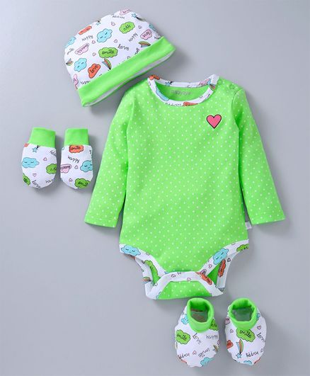 Babyoye Cotton Clothing Gift Set of 4 Heart & Clouds Print - Green White